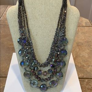Gorgeous all faceted glass crystal heavy necklace